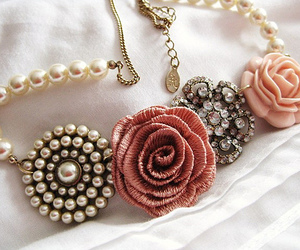 necklace, rose, and flowers image