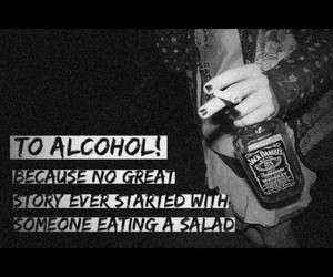 alcohol, salad, and friends image