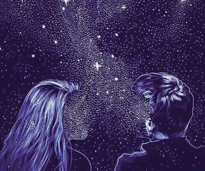 love, stars, and galaxy image