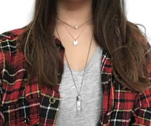 brunette, neckless, and t-shirt image