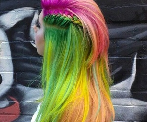 hair, green, and rainbow image