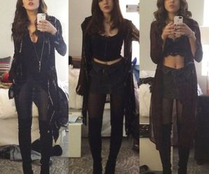 elizabeth gillies, black, and style image