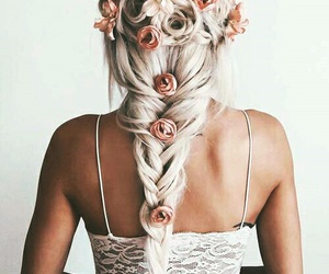 braid, bleach hair, and with roses image