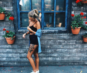 girl, tattoo, and flowers image
