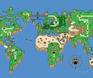 mario, world, and map image