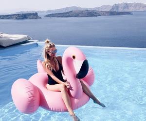 summer, girl, and pool image