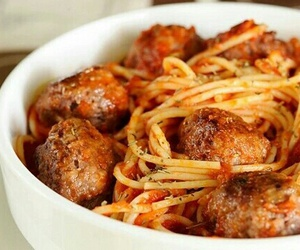 food, meatballs, and pasta image