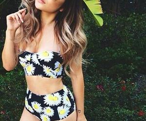 summer, bikini, and flowers image