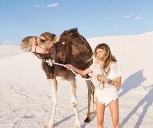 camel, girl, and animal image