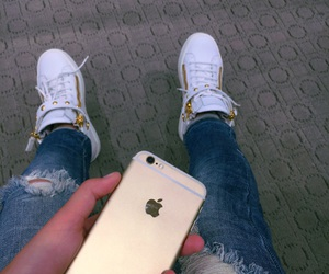 iphone, jeans, and shoes image