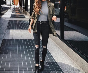 boots, cardigan, and casual image