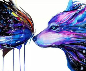 art, butterfly, and wolf image