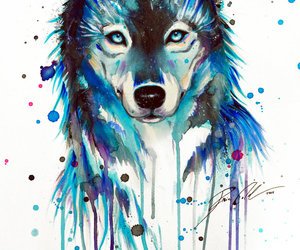 art, blue, and wolf image