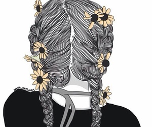 outline, art, and flowers image