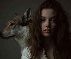 girl, wolf, and beauty image