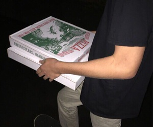 pizza, boy, and dark image