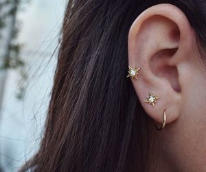 beauty, earrings, and piercing image