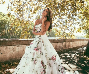 Couture, wedding gown, and flowers image