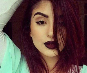 hair, red, and lips image