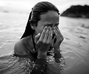 girl, black and white, and water image