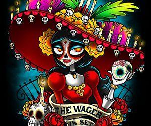 day of the dead, sugar skull, and la muerte image