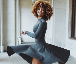 Afro, pretty, and grey dress image