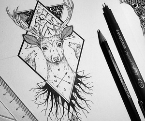 black, tattoo, and wolf image