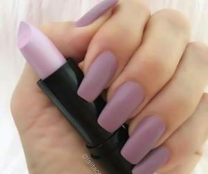 nails, lipstick, and purple image