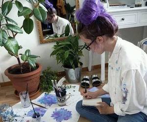purple, art, and hair image