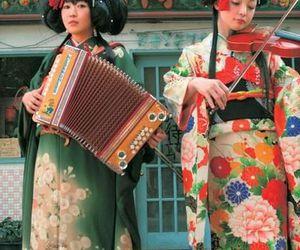 accordion, kimono, and flower image