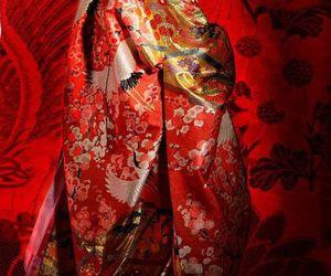 costume, cranes, and kimono image