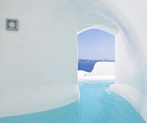 santorini, white, and beautiful image