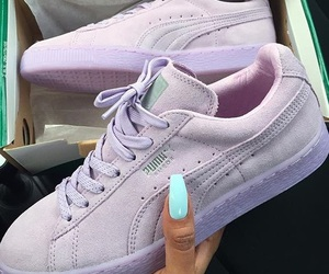 puma, shoes, and purple image