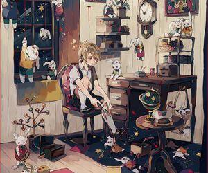 anime, boy, and bunny image