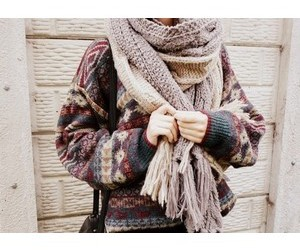 jumper, scarf, and knitted image