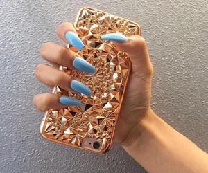 nails, fashion, and gold image
