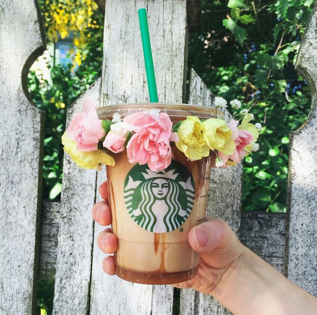 starbucks, flowers, and coffee image