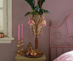 bedroom, lamp, and mauve image