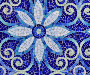 blue, flower, and mosaic image