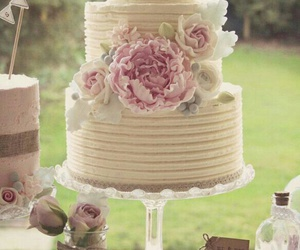 flowers, cake, and wedding cake image