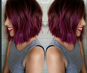 hair, short, and purple image