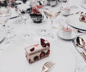 cake, food, and wine image