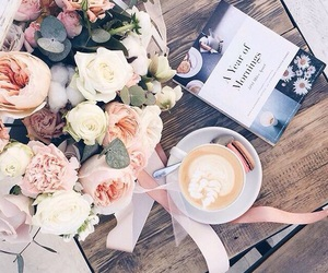 book, coffee, and peonies image