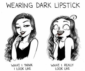 funny, lipstick, and drawing image