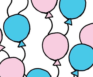 balloons, blue, and pink image
