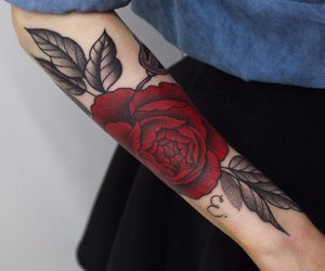 tattoo, rose, and red image