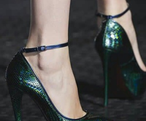 shoes, emerald, and heels image