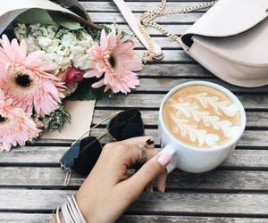 coffee, details, and flowers image