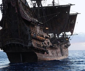 ship, pirate, and sea image