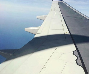 aeroplane, blue sky, and vacation time image